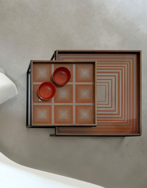 Linear Flow large square glass tray