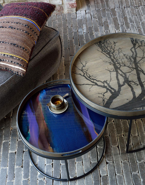 Large round wooden tray Black tree
