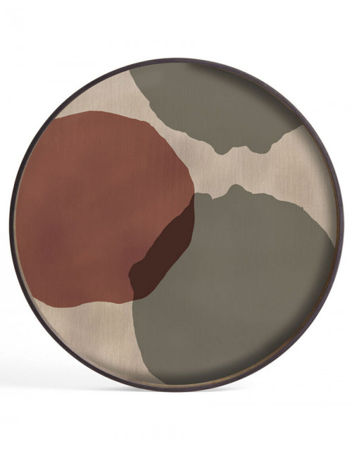Large Round Glass Tray Translucent Silhouettes