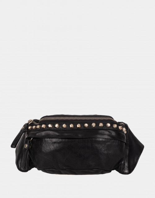 Black leather belt bag w/ studs