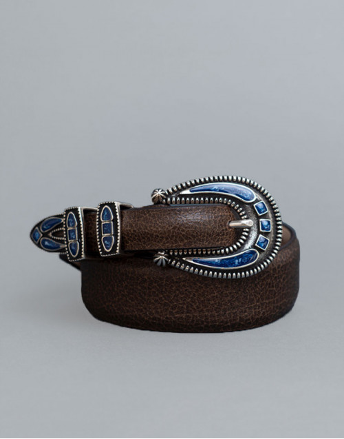 Brown Shadow belt with blue buckle