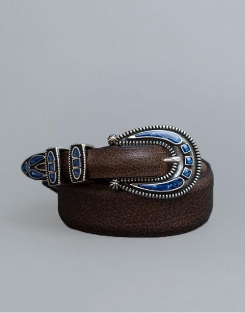 Cintura Shadow marrone con fibbia blu