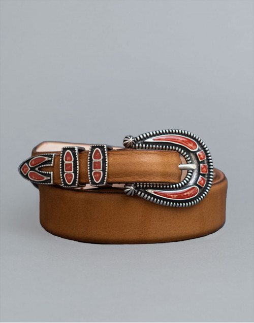 Beige Shadow belt with coral buckle