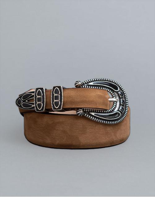 Beige Shadow belt with black buckle