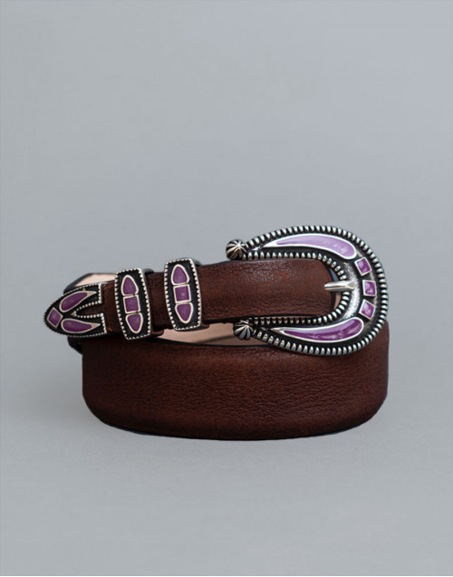 Cintura Shadown marrone con fibbia viola