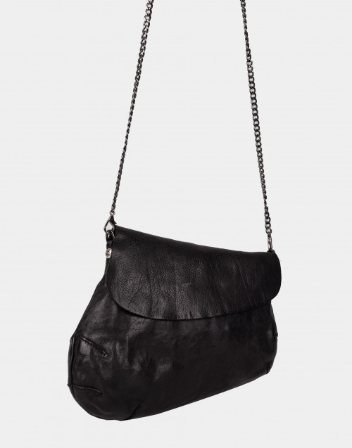 Asymmetrical black leather bag