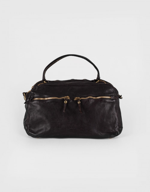 Large Eugenia Boston bag in grey leather with rivets