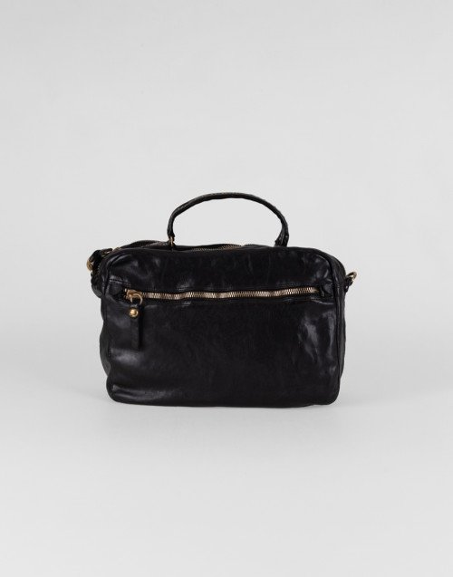 Small Eugenia Boston bag in black leather with rivets