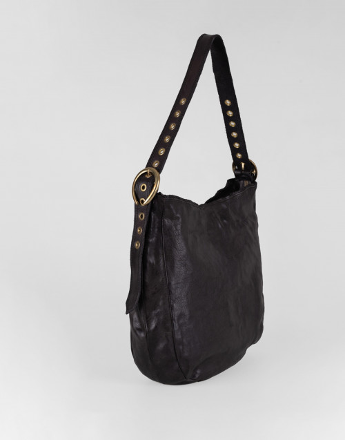 Large cross body bag in gray smooth leather
