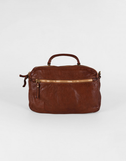 Small Eugenia Boston bag in cognac leather with rivets
