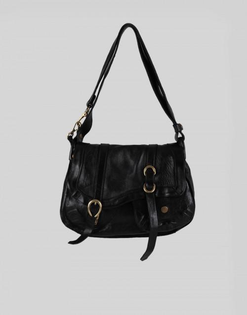 Small Arya single-strap shoulder bag in black leather