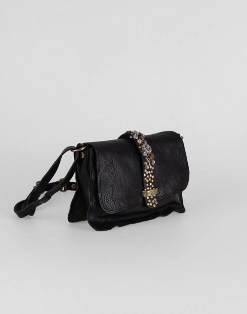 Mini cross body bag in black leather with Diamante studs