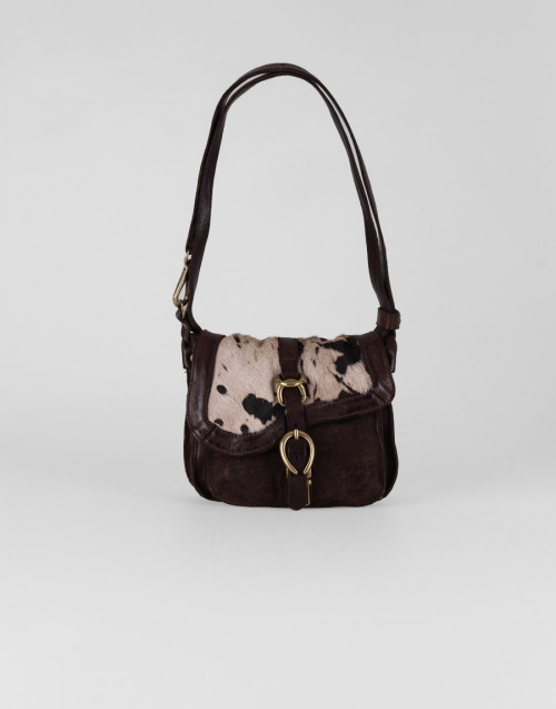 Cross-body small bag in brown bajo pony hair leather
