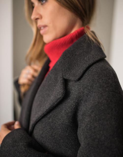 Cappotto lana antracite