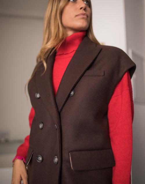 Gilet lana doppiopetto marrone
