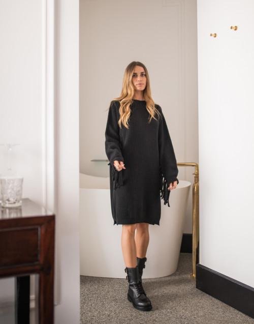 Fringed-hem oversized dress