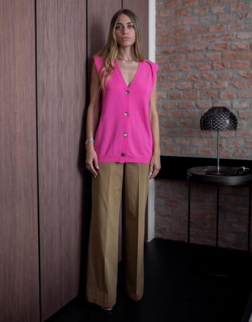Pink cashmere and virgin-blend vest