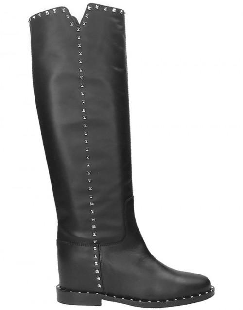 Black Malibu studded knee boots