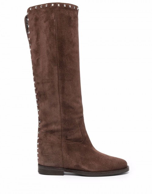 Suede brown studded Malibu knee boots