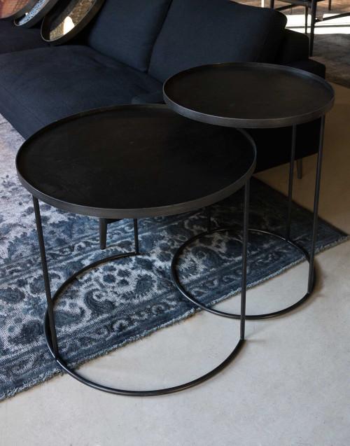 Set Coppia Tavolini Round Tray Legno Acciaio Nero...