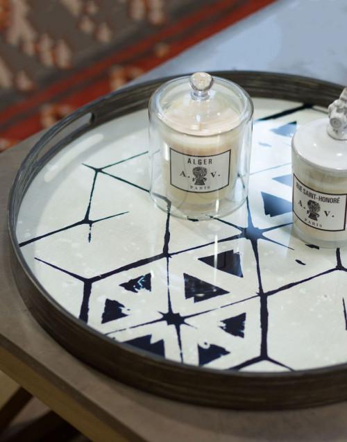Vassoio Rotondo Piccolo Legno Specchio Tribal Hexagon...