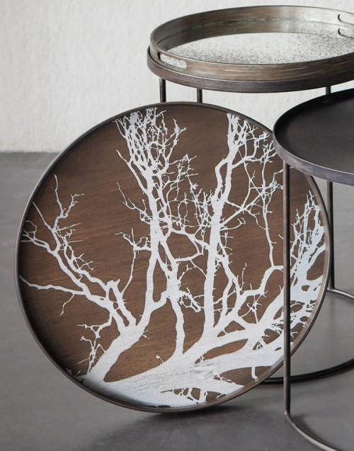 Vassoio Rotondo Grande Legno White Tree Driftwood