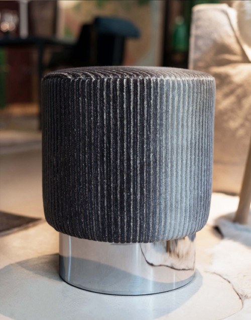 Velvet pouf- striped gray pattern