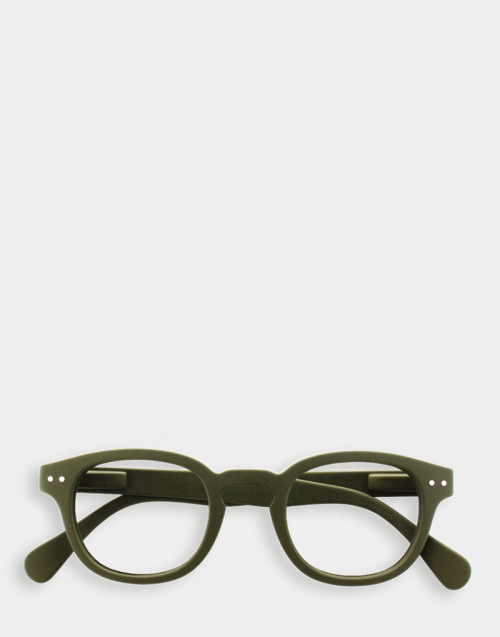 Reading glasses, thick green frame