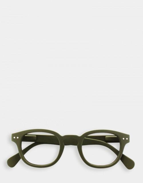 Reading glasses, thick green frame