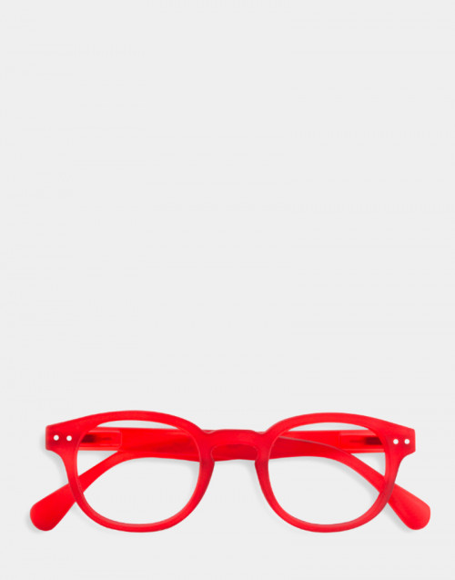Reading glasses, thick red frame