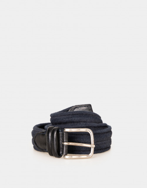 Cotton belt with leather details