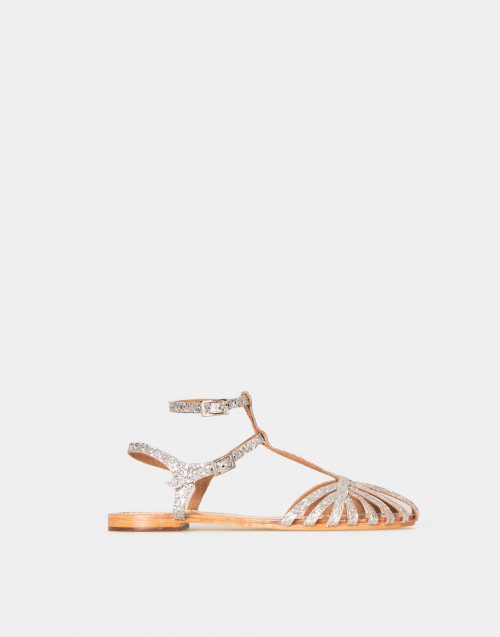 Leather sandals with glitter details