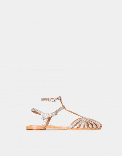 Sandalo basso con glitter argento
