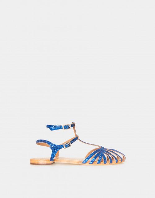 Sandalo basso con glitter blu
