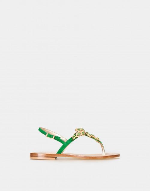 Sandalo gioiello infradito verde