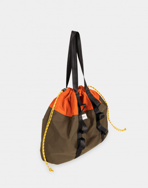 Military green nylon shopping bag