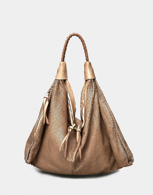 Beige leather nausicaa shopper