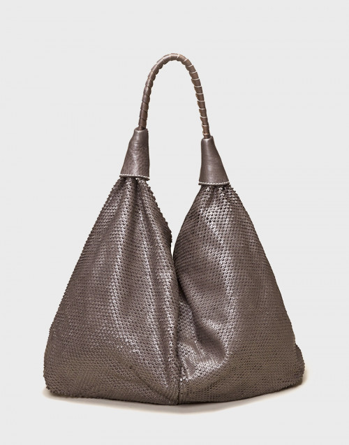 Grey leather nausicaa shopper