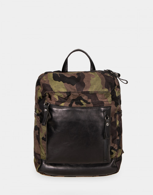 Brown and camouflage backpack