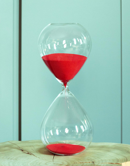 Large hourglass with red sand