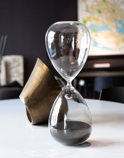 XL hourglass with black sand