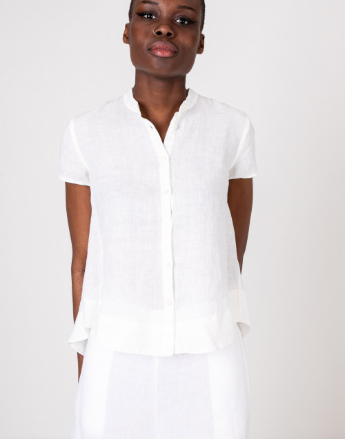 Mandarin collar shirt in white linen