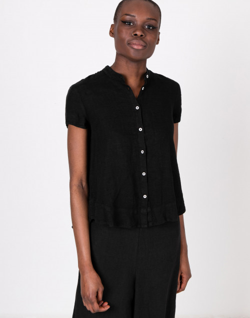 Mandarin collar black shirt
