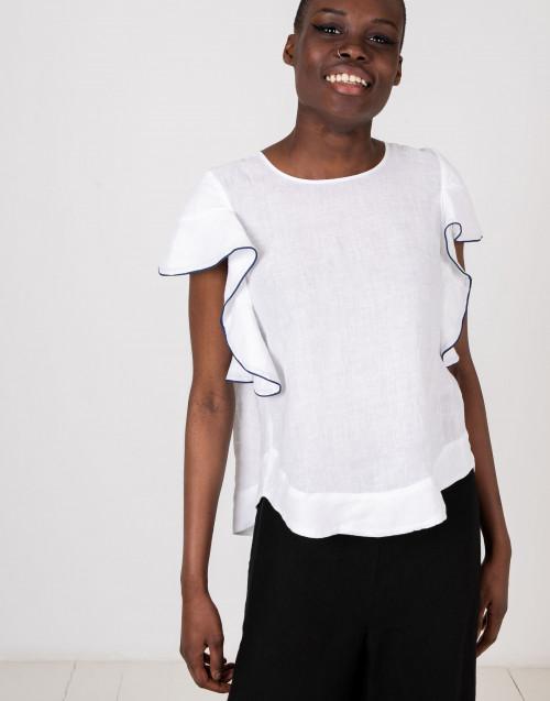 Top smanicato lino rouches bianco