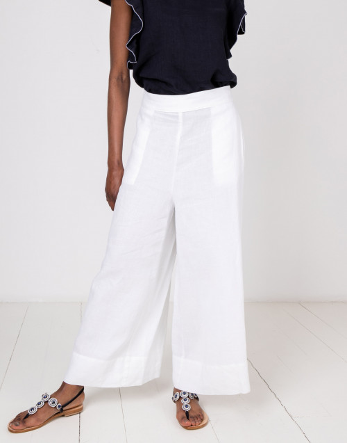 Pantaloni ampio in lino bianco