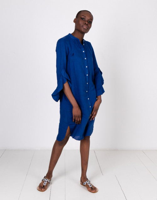 Chemisier blue dress with rouches