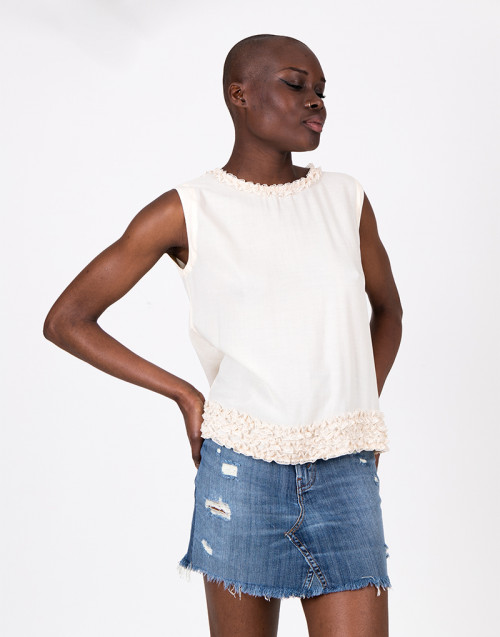 Cream color viscose top