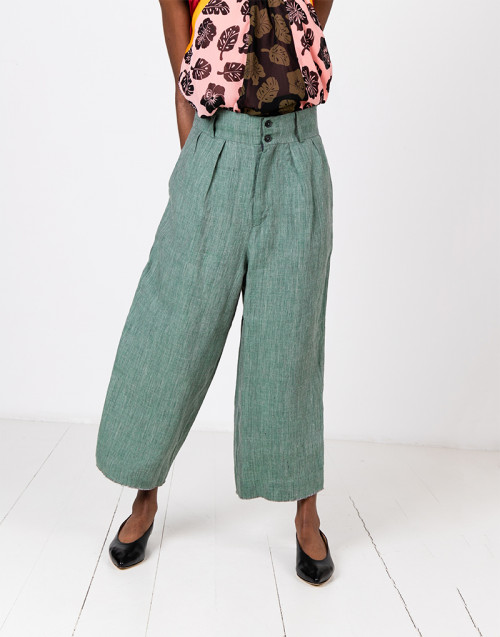 Green linen trousers