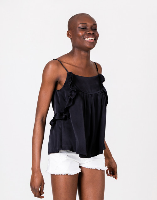 Black silk ruffles top