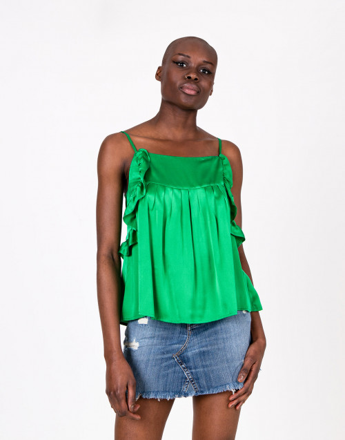 Top in seta verde